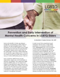 Prevention And Early Intervention Of Mental Health Concerns In